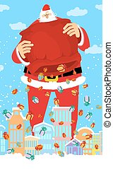 Santa Claus and bag rain gifts in city. Christmas in town....