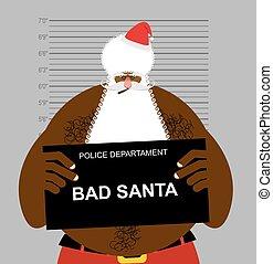 African American Santa at police station. Mugshot Black...
