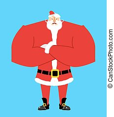 Santa angry. Aggressive Santa Claus. Christmas Grandfather...