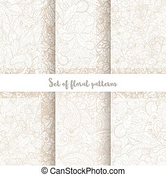 Set of vector hand drawn swirl floral patterns.