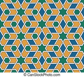 Seamless symmetrical abstract vector background in arabian style. Islamic traditional pattern.
