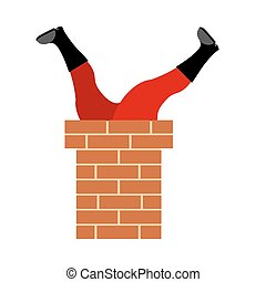 Santa Claus stuck in chimney. Legs Santa isolated. Christmas and New Year illustration