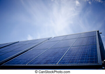 A stock photograph of solar panels