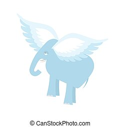 Flying Elephant. Fantastic animal. Elephant with wings isolated.