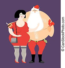 Bad Santa with beer and cigar. Santa Claus and prostitutes....
