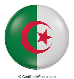 Algeria button on white background - 3d rendering of an...