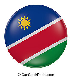 Namibia button on white background - 3d rendering of a...
