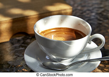 coffee cup - cup of coffee on  glass table