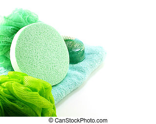 bath puff and loofah spa kit