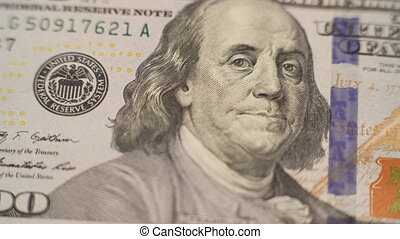 Close up portrait of one hundred dollars bill in 4K.