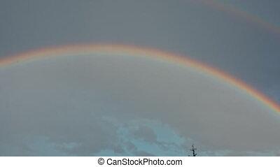 A rainbow over the city