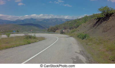 Autotravel Summer south of Crimea. Beautiful mountain...