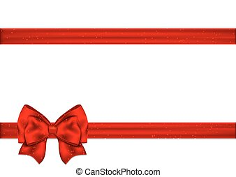 Red ribbon with bow on a white background