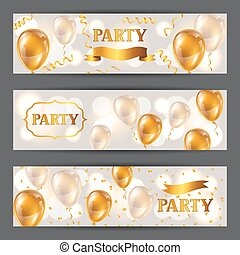 Celebration party banners with golden balloons and...