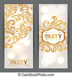 Celebration party banners with golden ornament. Greeting,...