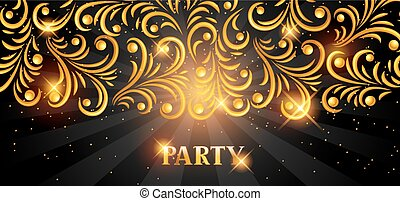 Celebration party banner with golden ornament. Greeting,...
