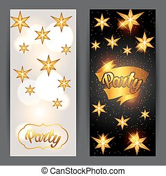 Celebration party banners with golden stars. Greeting,...