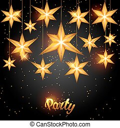 Celebration party background with starsornament. Greeting,...