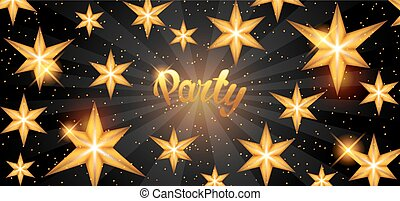 Celebration party banner with golden stars. Greeting,...
