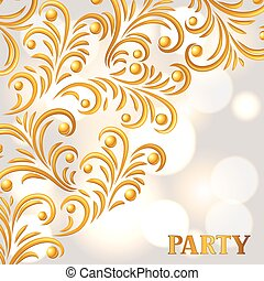 Celebration party background with golden ornament. Greeting,...