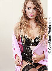 Seductive lady in dressing gown. - Subtlety and sexiness....