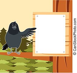 Happy Raven on the Tree winter flat background - Vector...