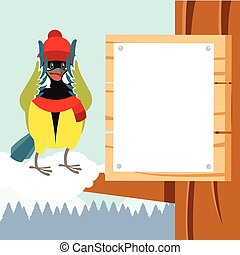 Happy Titmouse with Hat on the Tree winter flat background -...