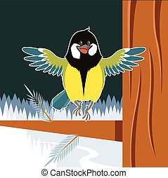 Happy Titmouse on the Tree winter flat background - Vector...