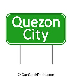 Quezon City road sign.