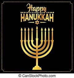 Happy Hanukkah background cover, card celebration text.