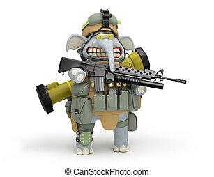 infantryman, Ilustración, elefante, poste, caricatura,  3D