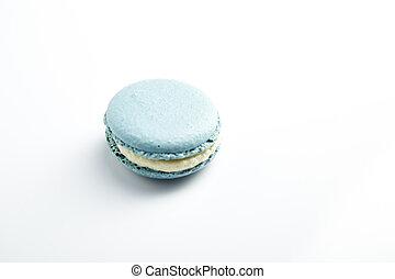 blue macaron - French blue macarons on  white background