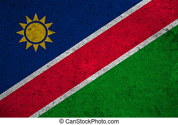 Namibia flag on an old grunge background