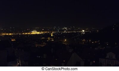 Old town of Prague at night, Czech Republic. 4K overview pan...