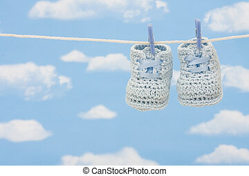 Pair of Retro Baby Booties - Retro hand made baby booties...