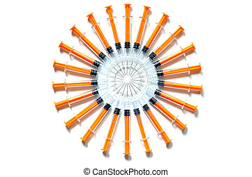 Syringes - Set of syringes on white background