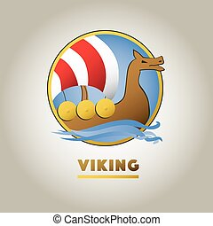 Viking ship sport vector logo