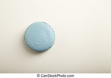 French blue macaron on  white background