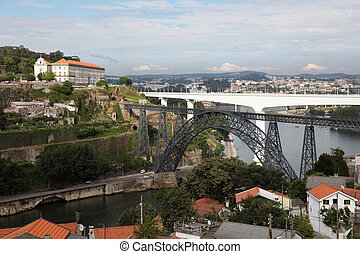Maria Pia and Sao Joao bridges in Porto, Portugal