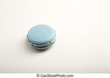 French blue macaron on  white background