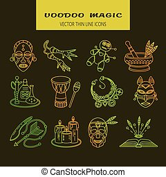 Voodoo African and American magic vector line icons. Voodoo...