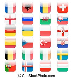 Set of 24 soccer balls icons flags of the participant countries. Football Euro cup 2016