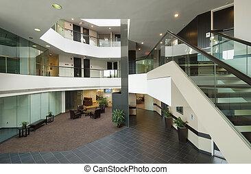 oficina, edificio, vestíbulo