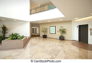 Office lobby entrance - Entrance hall of business office in...