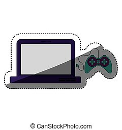 Gamepad and laptop of videogame design - Gamepad and laptop...