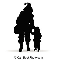 child silhouette with woman in black illustration