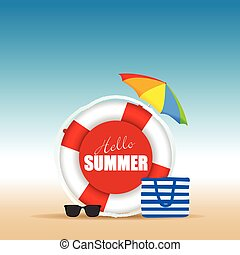 live saver with hallo summer and beach bag illustration in...
