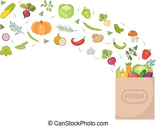 Shopping paper bag with fresh vegetables. Flat design. Banner space for text, isolated on white background. Healthy lifestyle, vegan, vegetarian diet, raw food. Vector illustration