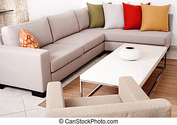 Sofa set with colored cushions - Coloured cushion in the...