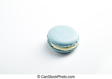 blue macaron - French blue macarons on  white background
